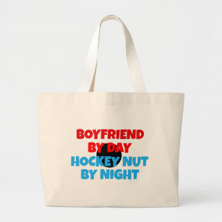 Hockey Nut Boyfriend Large Tote Bag
