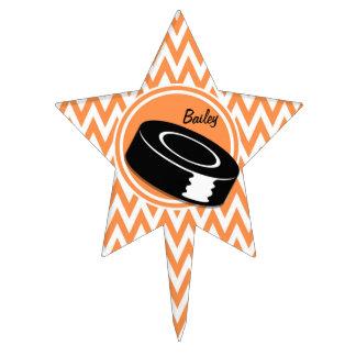 Hockey; Orange and White Chevron Cake Topper