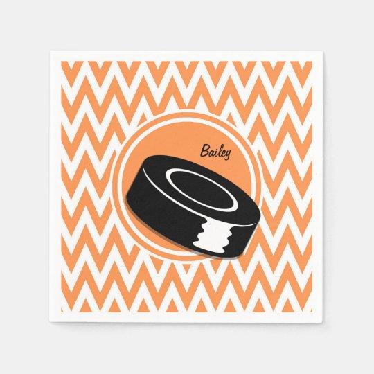 Hockey; Orange and White Chevron Disposable Napkin