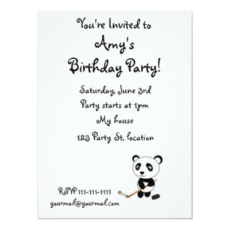 Hockey panda 6.5x8.75 paper invitation card