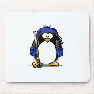 Hockey Penguin - Blue Mouse Mat