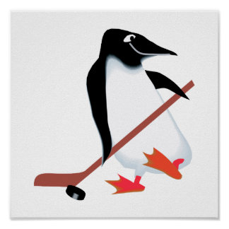 Hockey penguin poster