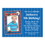 Hockey Photo Birthday Party Blue Invitations 13 Cm X 18 Cm Invitation Card