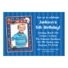 Hockey Photo Birthday Party Blue Invitations