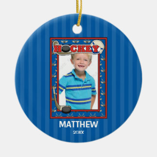 Hockey Photo Frame Kids Personalized Christmas Christmas Ornament