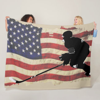 Hockey Player  and US Flag - Winter Sports Fleece Blanket