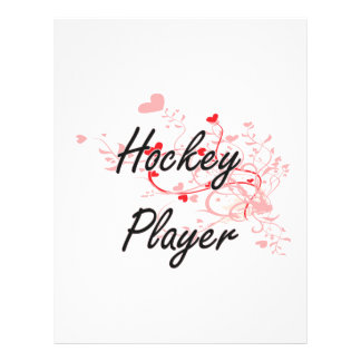 Hockey Player Artistic Job Design with Hearts 21.5 Cm X 28 Cm Flyer