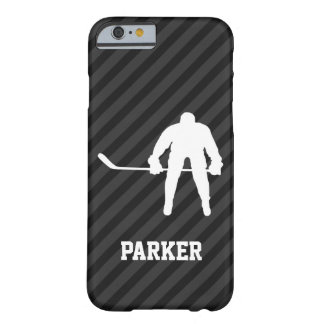 Hockey Player; Black & Dark Gray Stripes Barely There iPhone 6 Case