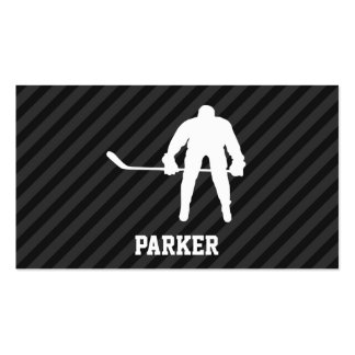 Hockey Player; Black & Dark Gray Stripes Pack Of Standard Business Cards