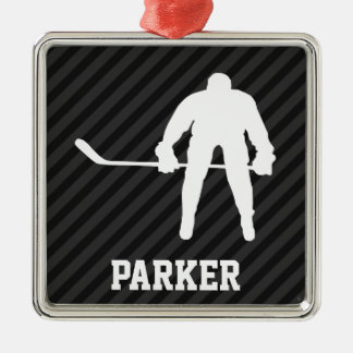 Hockey Player; Black & Dark Gray Stripes Christmas Ornament