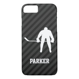 Hockey Player; Black & Dark Gray Stripes iPhone 7 Case