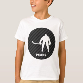 Hockey Player; Black & Dark Gray Stripes T-Shirt