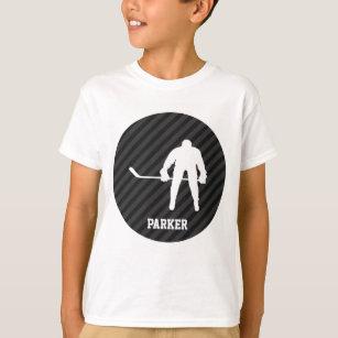 Hockey Player; Black & Dark Grey Stripes T-Shirt