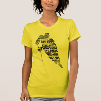 Hockey Player Calligram Design Ladies T-Shirt