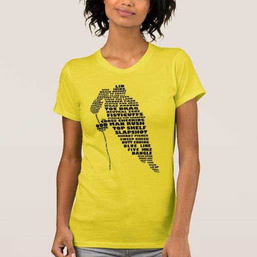 Hockey Player Calligram Design Ladies' T-Shirt