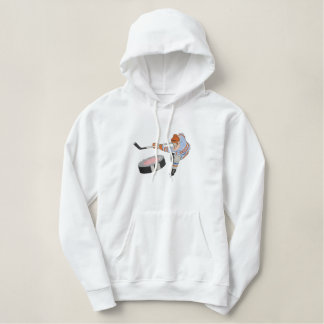 Hockey Player Embroidered Hoodie