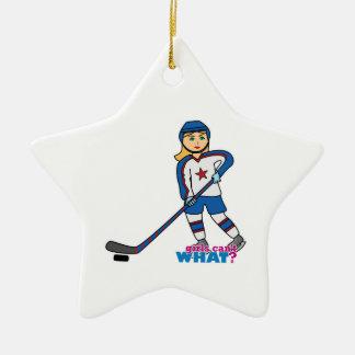 Hockey Player Girl Christmas Ornament