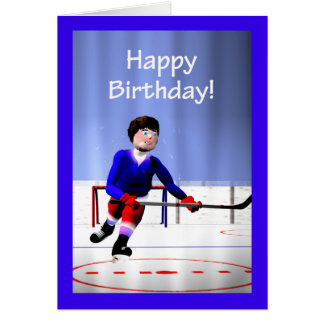 Hockey Player Overtime Birthday Greeting Card