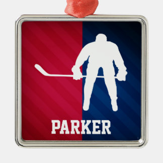 Hockey Player; Red, White, and Blue Christmas Ornament