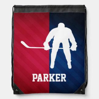 Hockey Player; Red, White, and Blue Rucksacks