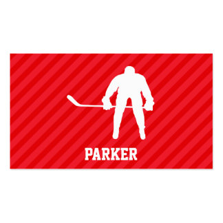 Hockey Player; Scarlet Red Stripes Pack Of Standard Business Cards