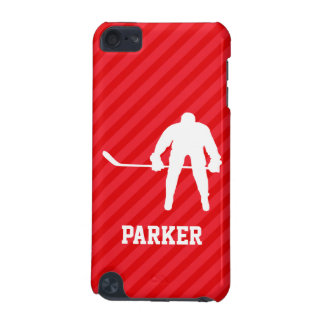 Hockey Player; Scarlet Red Stripes iPod Touch 5G Case