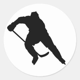 Hockey-Player-Silhouette-1 Round Sticker