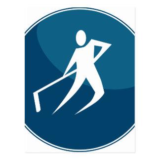 Hockey Player Stick Figure Icon Postcard