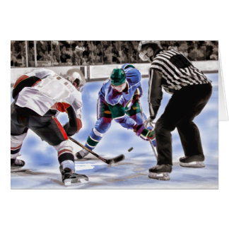 Hockey Players and Referee Face Off Greeting Card