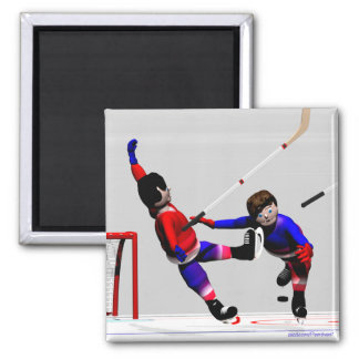 Hockey Players in Action Magnet
