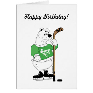 Hockey Polar Bear Birthday Greeting Card