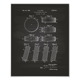 Hockey Puck 1940 Patent Art - Chalkboard Poster