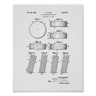 Hockey Puck 1940 Patent Art - White Paper Poster