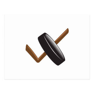 HOCKEY PUCK AND STICK POSTCARD