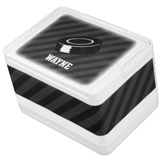 Hockey Puck; Black & Dark Gray Stripes Igloo Cool Box