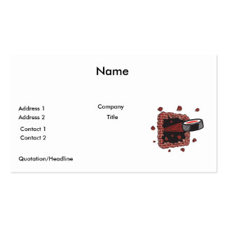 hockey puck breaking brick wall pack of standard business cards