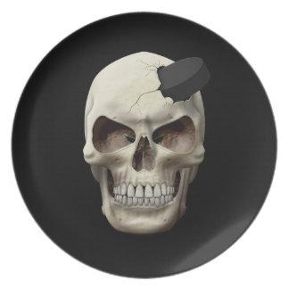 Hockey Puck in Skull Dinner Plates