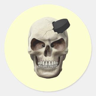 Hockey Puck in Skull Round Sticker