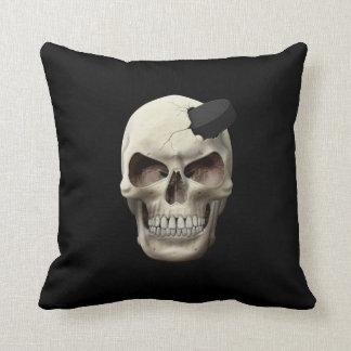 Hockey Puck in Skull Throw Cushion