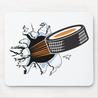 Hockey puck mouse mat