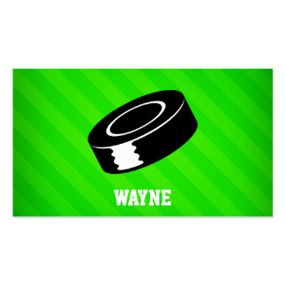 Hockey Puck; Neon Green Stripes Pack Of Standard Business Cards