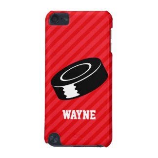 Hockey Puck; Scarlet Red Stripes iPod Touch 5G Cover