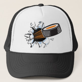 Hockey puck trucker hat