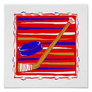 Hockey red white and blue print