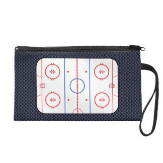 Hockey Rink Diagram on Blue Carbon Fiber Style Wristlet Clutch