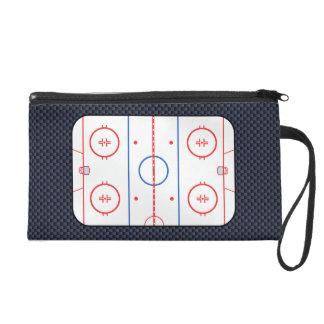 Hockey Rink Diagram on Blue Carbon Fiber Style Wristlet Clutch