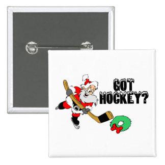 Hockey Santa 15 Cm Square Badge