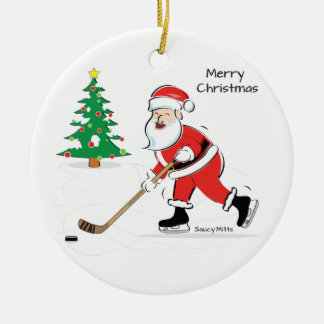 Hockey Santa Christmas Round Christmas Ornament