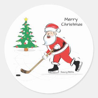 Hockey Santa Christmas Round Sticker