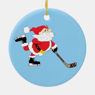 Hockey Santa Skating Christmas Christmas Ornament